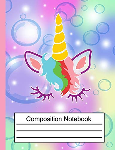 Composition Notebook: Cute Unicorn Wide Ruled Primary for Girls Kids Elementary Student Teacher School Supplies Journal, 7.44 x 9.69 in, 110 pages