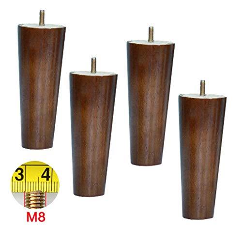 Yuany 4-delige set sofapoten in walnootkleur, reservepoten voor massief houten meubelen, M8-schroeven, poten van houten keukenkast, tafelpoten, voor loveseat, stoel, bed, commode, stoel, ligstoel, salontafel (18 cm)