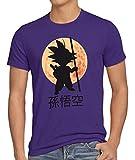 style3 Goku Moonlight Camiseta para Hombre T-Shirt, Talla:S;Color:Lila
