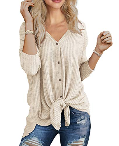 IWOLLENCE Womens Loose Henley Blouse Bat Wing Long Sleeve Button Down T Shirts Tie Front Knot Tops Oatmeal X-Large