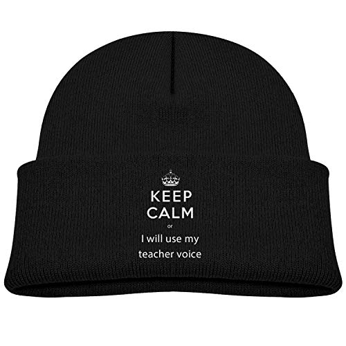NR Behalten Sie die Ruhe, oder ich werde Meine Lehrerstimme verwenden, die Kleinkind läuft mit Hüten Winter-Strickmütze-Kappe Schädel-Kappe, OneSize, Grau