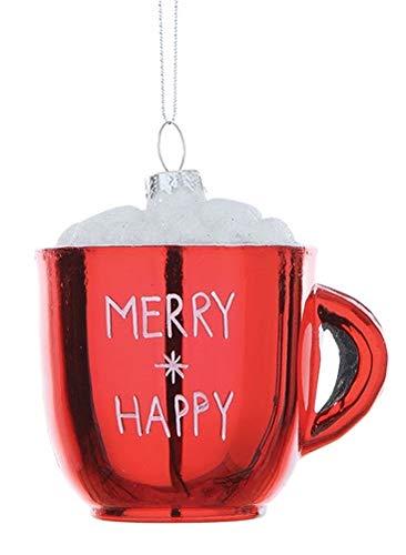 Creative Co-op Merry & Happy Hot Cocoa Tasse Glas Ornament