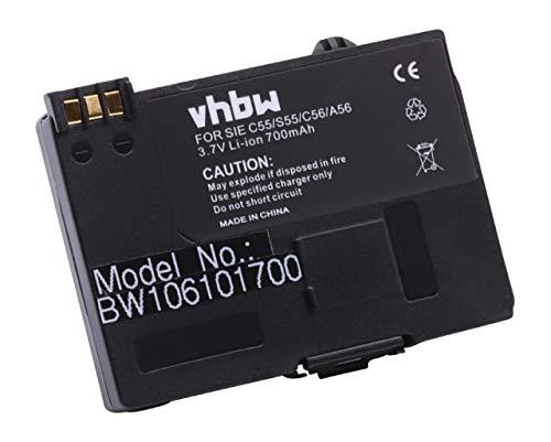 vhbw Akku kompatibel mit Siemens A55, A60, A65, A70, A75, C55, C60, CL60, M55, S55, Ersatz für EBA-510, V30145-K1310-X250 für Festnetz Handy (700mAh)