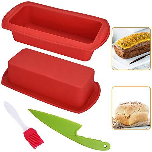 FAVENGO 2 Pcs Moldes de Silicona para Pan Moldes para Hacer Pan Moldes para Pan Moldes para Panadería Antiadherente con Cuchillo de Plástico y Un Cepillo de Silicona para Tarta Molde Pan y Horno, Rojo