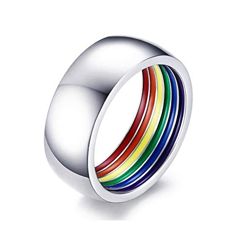 Yinuneronsty - Anillo de compromiso de boda con el arcoíris esmaltado de titanio