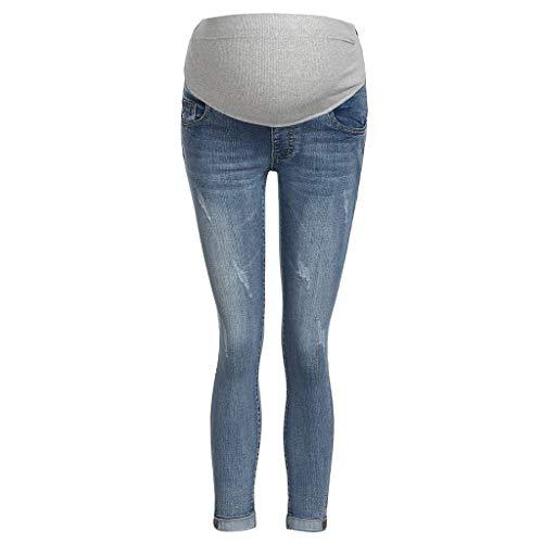 LHWY Premamá Invierno Leggins Abrigos Embarazo Maternidad Pantalones Pitillo Jeans sobre Los Pantalones EláSticos (M, Azul Claro)