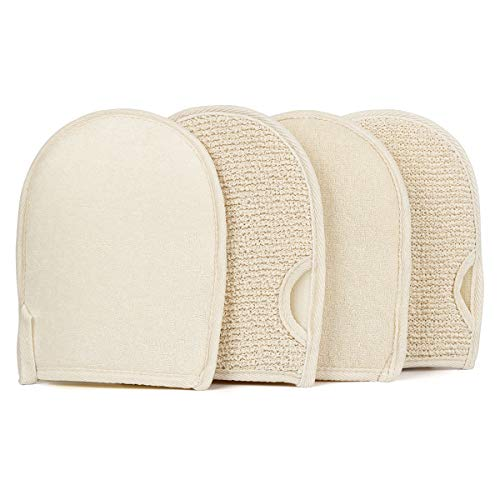 Exfoliating Loofahs Gloves Body Scrubber Natural Bath Mittens Double Sided Scrubbing for Men Women Shower Exfoliation, Korean Spa Massage Dead Skin Removal (4 Pack)