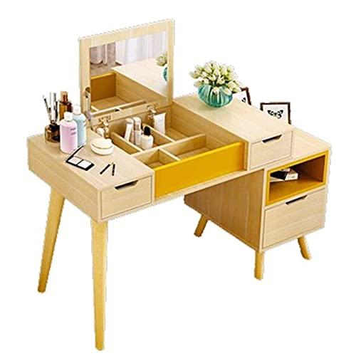 HHTD Cómodas para Dormitorio Mesa de Maquillaje de Estilo nórdico Minimalista Moderno con luz Pequeño apartamento Pantalla Maquillaje