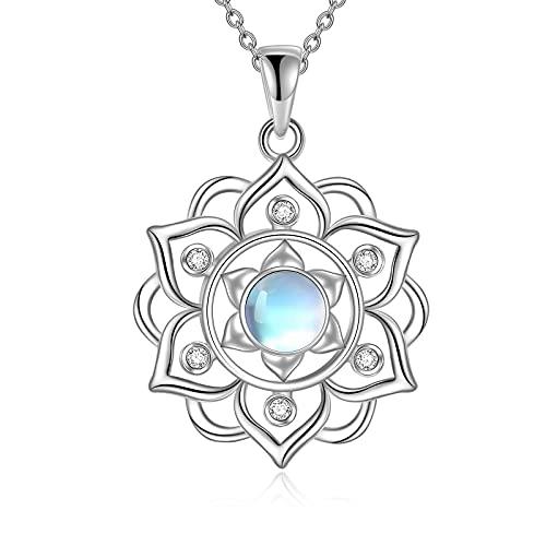 Lotus - Collar de plata de ley 925 con colgante de piedra lunar para mujer