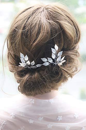 Kercisbeauty Wedding Leaf Leaves Hair Pins for Bride Bridal Bridesmaids Hair Piece Rustic Wedding Prom Vintage Handmade Bobby Pins Hairdress 2pcs (Silver)