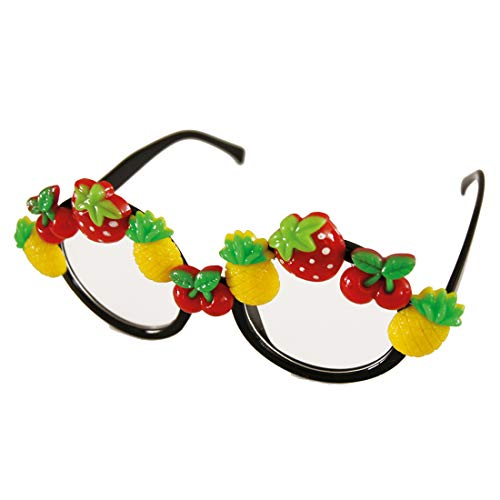 NET TOYS Lustige Faschingsbrille mit Früchten - Cooles Damen-Accessoire Rundbrille im Hawaii Style - EIN Highlight für Fasching & Karneval