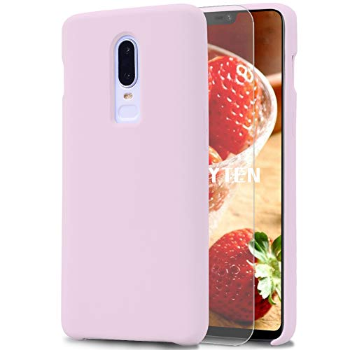 Feyten Funda OnePlus 6 [Cristal Vidrio Templado], Slim Líquido de Silicona Gel Carcasa Anti-Rasguño Protectora Caso para OnePlus 6 (Rosa Claro)
