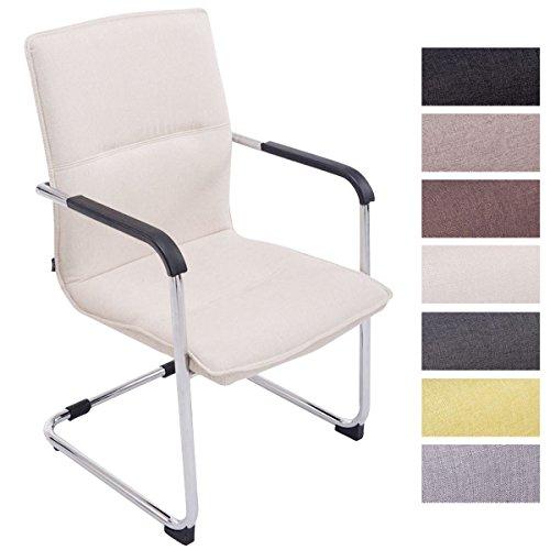 CLP Freischwinger-Stuhl mit Armlehne SEATTLE Stoff gepolstert - Metall - Creme