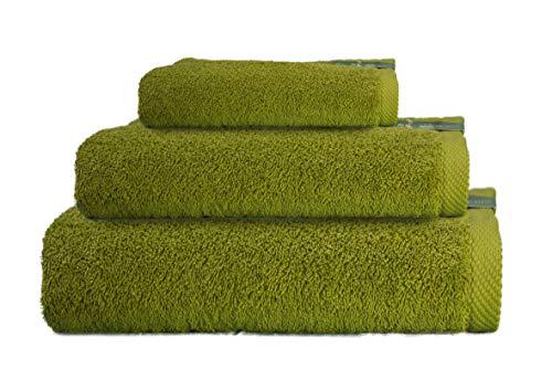 ADP Home - Juego de Toallas 550 Grms 3 Piezas (Toalla Sábana/Baño, Lavabo/Mano, Tocador) 100% Algodón Peinado - Color: Verde Oliva
