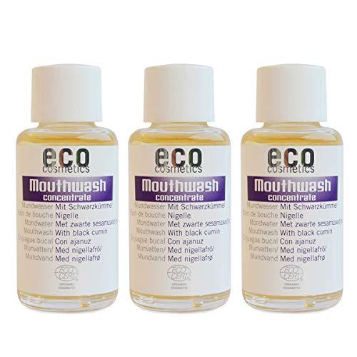 ECO COSMETICS mondwater (3 x 50 ml), milde kruidensmaak, biologisch mondwater, veganistisch, vrij van fluoride, natuurlijke cosmetica