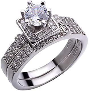 Yiwu Crystal Round 2PC Set Luxury 925 Silver Engagement Ring Vintage Wedding Rings for Women