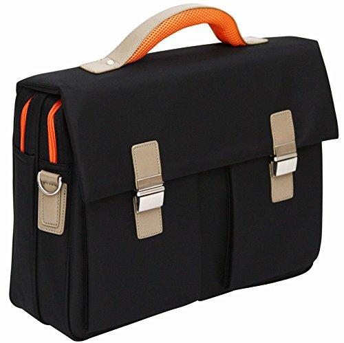"""Tassia Borsa morbida da ufficio di qualità con tracolla - per laptop 15,6"""" - Inserti arancioni"""