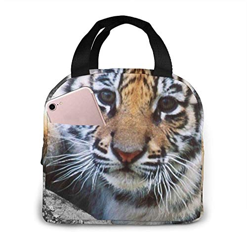 Cute Tiger Cub Lunch Bag Tote Bag Lunch Box Insulated Lunch Container for Woman Man