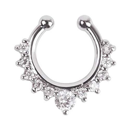 Fengyuanhong Rhinestone de la aleación de Lujo Falso Anillo de Nariz joyería Piercing Nariz Zircon cristalino Claro Decorativo Stud