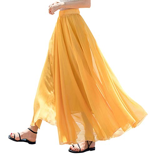Teemall Women's Ankle Chiffon Long Skirt A-line Retro Skirts Pleated Beach Maxi Skirt (Yellow)