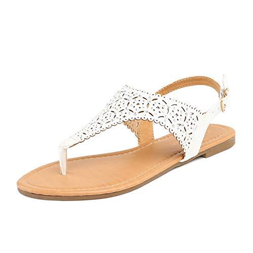 DREAM PAIRS MEDINIE Women Rhinestone Casual Wear Gladiator Flat Cut Out Sandals White 7 B(M) US