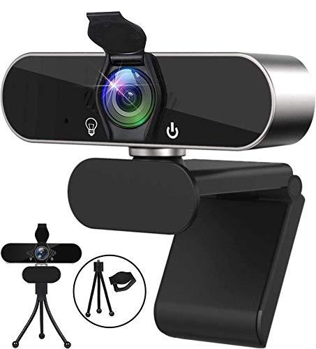 Webcam 1080P mit Mikrofon Stativ und Datenschutzabdeckung,USB Web Kamera Plug & Play,Camera für Videoanrufe Online Unterricht Konferenzen Spielen Zoom Skype Twitch, Webcam für Laptop MAC PC Desktop
