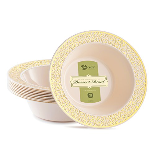 LACE PLASTIC PARTY DISPOSABLE BOWLS | 6 Ounce Hard Round Wedding Plastic Bowls | Ivory with Gold Rim, 40 Pack | Elegant & Fancy Party Supplies Dessert Plates for all Holidays & Occasion