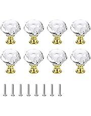 8 stuks kristallen diamanten kastknoppen, kristallen diamant meubelknop, helder glas knop, lade knoppen, meubelknoppen, diamantvorm kristallen handvat, voor keuken kantoor (goud)