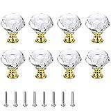 8 Piezas Tirador Para Muebles De Cristal, Perilla Gabinete Cristal, Pomo De Cristal, Pomo De Cristal para Mueble, Perillas De Cajón Vidrio, para Guardarropas, Alacenas (Dorado)