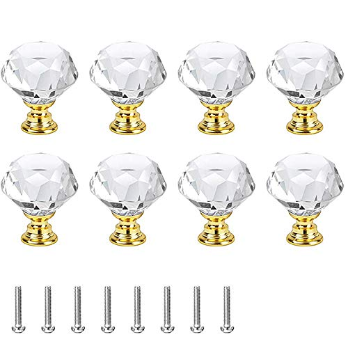 8 Pezzi Maniglie Cristallo, Manopole Cristallo Con Vite, Pomelli per Mobili, Pomelli per Cucina, Manopole A Forma Diamanti, per Guardaroba, Armadi (D'oro)
