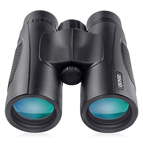 QUNSE 10X42 HD Jumelles, pour Adultes, Lentilles BAK4 Prisme FMC Vision Faible Luminosité,pour Le Voyage, l'Observation des Oiseaux, Concerts, Sports et la Chasse (10x42)