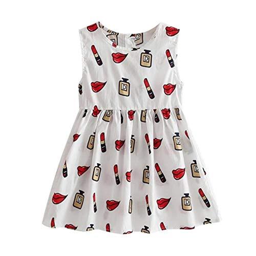 QPM - Vestido de verano para niña, cuello redondo, sin mangas, estampado floral, línea A, linda ropa de princesa