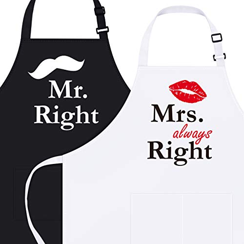 Syntus Mr. and Mrs. Apron, 2 Pack Couple Aprons for Engagement Wedding Anniversary, Bridal Shower Gift for Bride, Wedding Gifts for The Newly Married Couple and Valentine's Day