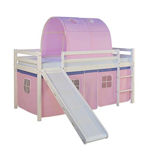 Homestyle4u 1567, Kinderbett 90x200 Weiß, Hochbett mit Rutsche Vorhang Tunnel Rosa, Holz Kiefer