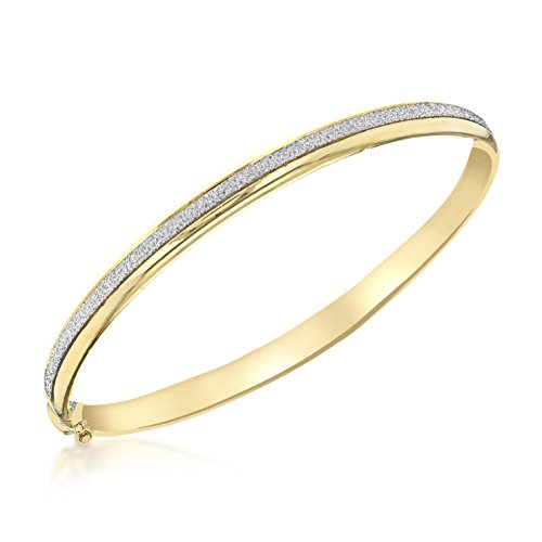 Carissima Gold Damen - Armreif 9ct Yellow 5.5mm Stardust Oval Bangle 375 Gelbgold - 1.37.2049