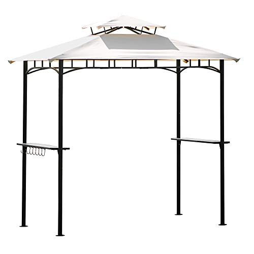 Teeker BBQ Canopy for Outdoor Activities, Grill Gazebo with Shelves and Metal Frame, Beige