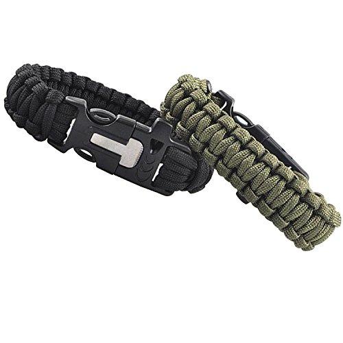 Kit de survie en paracorde pour camping, randonnée, escalade, sifflet, corde tressée, bracelet tactique, sifflet, allume-feu, kit de bracelet noir et vert kaki