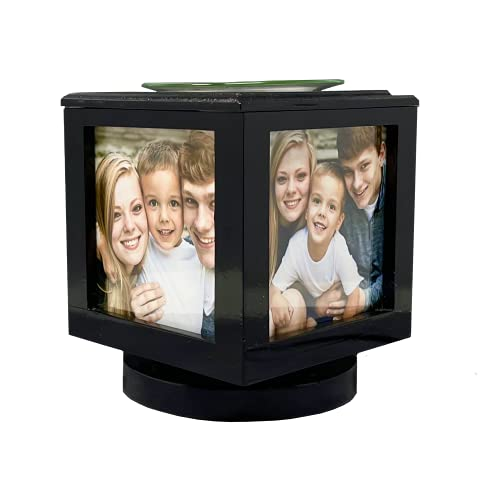Memory Box Picture Frame Lamp and Electric Wickless Candle Wax Melt Warmer or Oil Burner Combo - Add Your Own Photos! (Black)