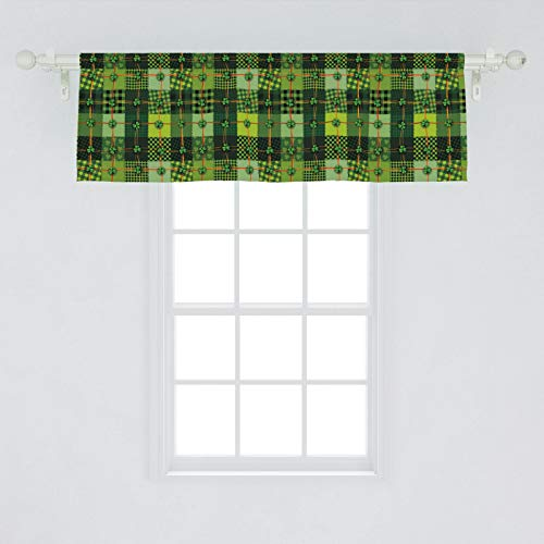 Ambesonne Irish Window Valance, Patchwork Style St. Patrick's Day Themed Celtic Quilt Cultural Checkered Clovers, Curtain Valance for Kitchen Bedroom Decor with Rod Pocket, 54' X 18', Green Orange