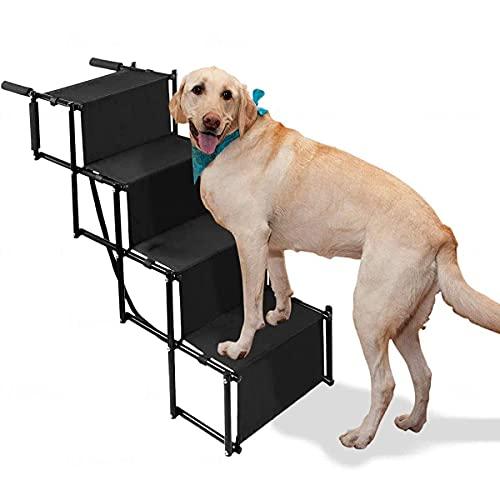 NC XIKUO Rampa de Escalera Plegable para Mascotas de 4 escalones, escalones para Perros medianos y Grandes, rampa para Perros portátil y Liviana con Superficie Impermeable, Ideal para automóviles,