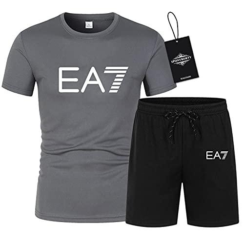 MQJUNZE Polo Dos Piezas Camisas Camiseta Bermudas Manga Corta E7 Impresión Parte Superior Hombres Y Mujer Algodón Casual Chandal Conjunto Sudadera Tee Código Postal/gray/XXL