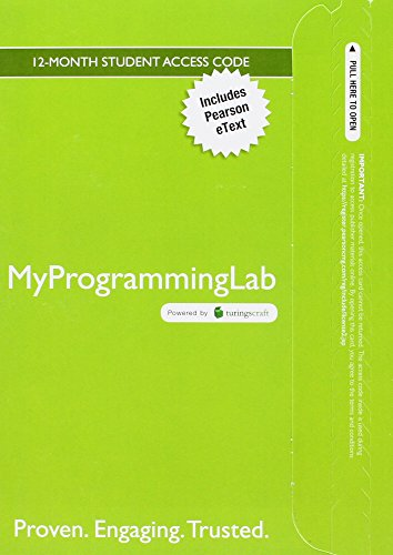 Mylab Programming with Pearson Etext -- Access Code Card -- For Problem Solving and Program Design in C