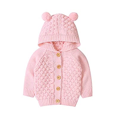 Newborn Baby Girls Boys Knit Cardigan Hooded Sweater, Infant Button-Down Cotton Outfits, Unisex Baby Basic Clothes (Pink, 6-9 Months)