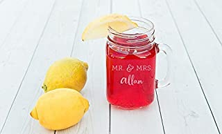 Personalized Drinking Mason Jars Glasses with Handles - 6oz Toasting Glass Wedding Gift Engraved Design (Allan Design)