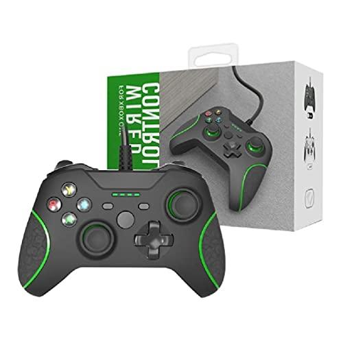 Yuwe Wired Controller para, Gamepad Joystick con cable con doble vibración USB y conector para auriculares de 3,5 mm compatible con PC S/X/Windows (blanco)