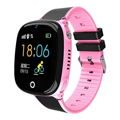 POAE Reloj Inteligente para niños Reloj de posicionamiento GPS Reloj Inteligente con Foto para Estudiantes Pantalla Digital Inteligente a Prueba de Agua Admite Varios Idiomas-Pink