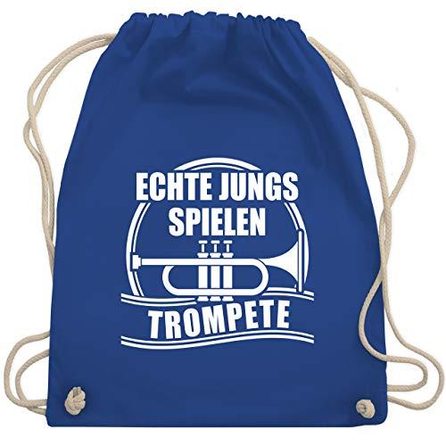 Shirtracer Instrumente - Echte Jungs spielen Trompete - Unisize - Royalblau - trompetentasche rucksack - WM110 - Turnbeutel und Stoffbeutel aus Baumwolle