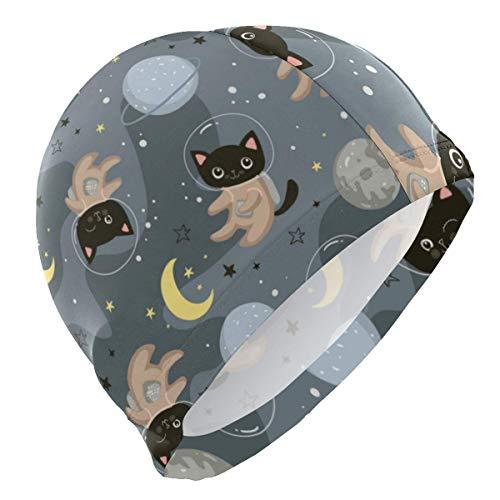 Tcerlcir Gorro Natación Patrón de Gatos Astronauta Espacial Gorro de Piscina para Hombre y Mujer Hecho de Silicona Ideal para Pelo Largo y Corto