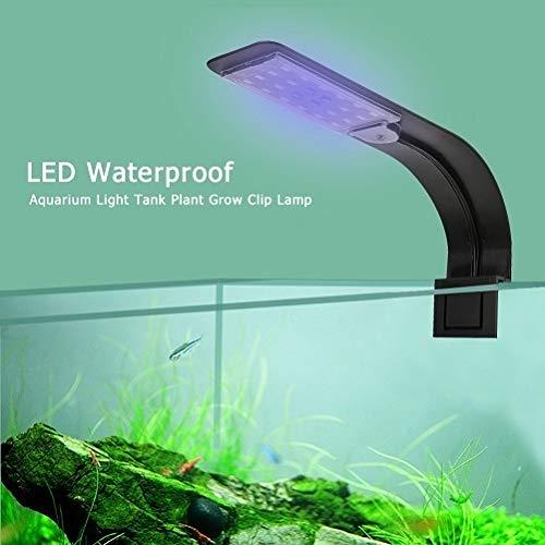 yywl Luces para acuarios Super Slim 10W LED Impermeable luz del Acuario for Plantas acuáticas del Acuario Crece la iluminación con Clip de la lámpara Enchufe de la UE (Color : Blue White Black)