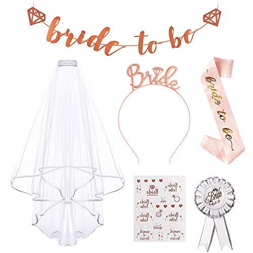 AivaToba JGA Deko Accessoires Rose Gold für Den Junggesellinnenabschied mit Bride to Be Banner,Bride to Be Schleier, Schärpe ,Abzeichen, Tiara ,Tattoos für Braut to be,Braut Dusche, Team Braut